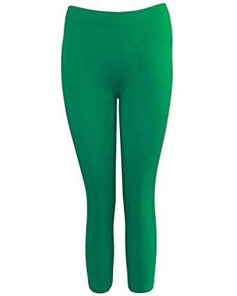 Green Seamless Capri Leggings Three Quarter Length at Amazon ...