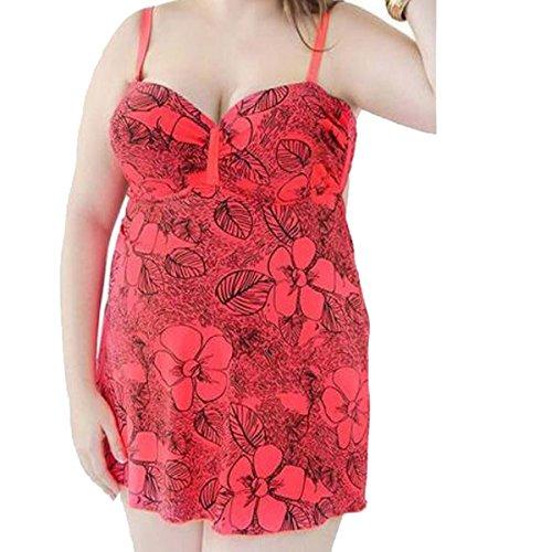 TAOZHN Trajes De Baño Bikini Femenino 56 58 60 62 64 Deportes Acuáticos Verano Sin Mangas Noble Bikini Consejo De La Escultura Cómodo Traje De Baño WatermelonRed
