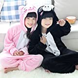 DEED Kids Cartoon Flannel Animal Novelty Costumes Cosplay Pajamas Role-Playing Halloween Play Clothes,Pink pig,L