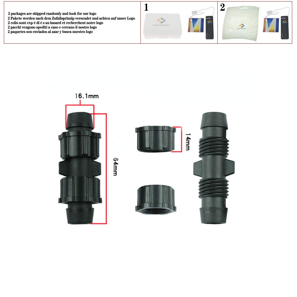 5PCS Drip Tape Fittings 16mm Drip Belt Water Line Pipe Hose Repair Straight Tee Locked Connectors Anti-Shedding,by Pass