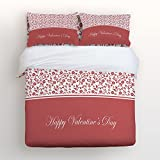 4 Piece Cotton Bedding Set Happy Valentine's Day Collection Classic Pattern Queen Size Duvet Cover Set Bedspread for Childrens/Kids/Teens/Adults Pink By KAROLA