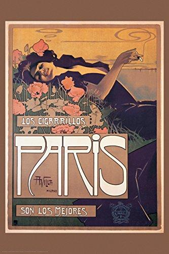 BEYONDTHEWALL Archive Villa Los Cigarrillos Paris Vintage Cigarette Advertising Art Print (24x36 Unframed Poster)