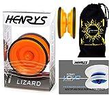 Henrys LIZARD YoYo (Orange) Professional Entry-Level YoYo +Instructional Booklet of Tricks & Travel Bag! Pro YoYos For Kids and Adults!