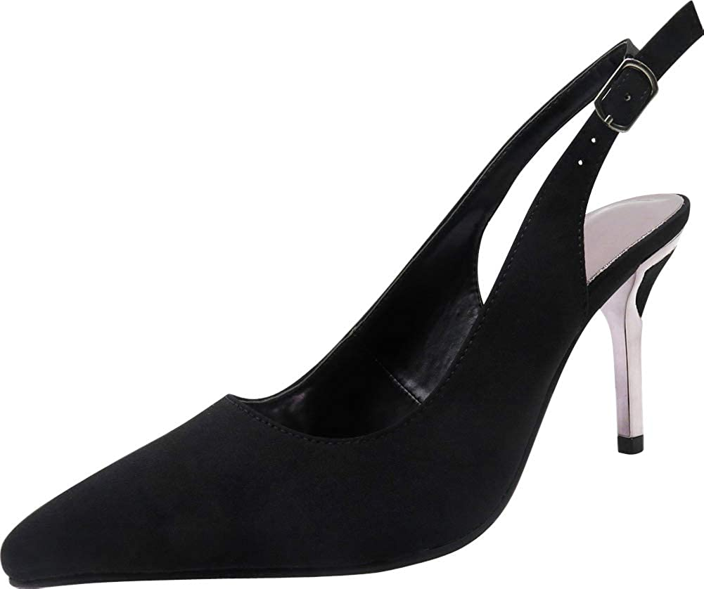 Black Cambridge Select Women's Pointed Toe Slingback Stiletto High Heel Pump