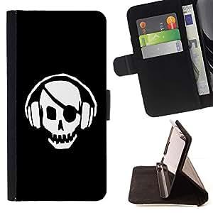 ForSamsung Galaxy S3 MINI i8190 (NOT S3) Case , Pirata del cráneo del golpe- la tarjeta de Crédito Slots PU Funda de cuero Monedero caso cubierta de piel