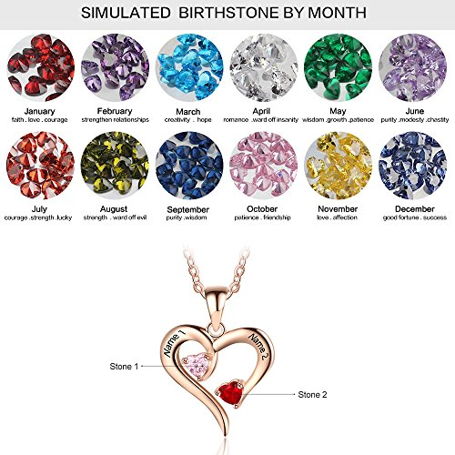 Personalized 2 Names Simulated Birthstones Necklaces 2 Couple Hearts Name Engraved Pendants for Women £¨Rose Gold by Love Jewelry (Image #1)