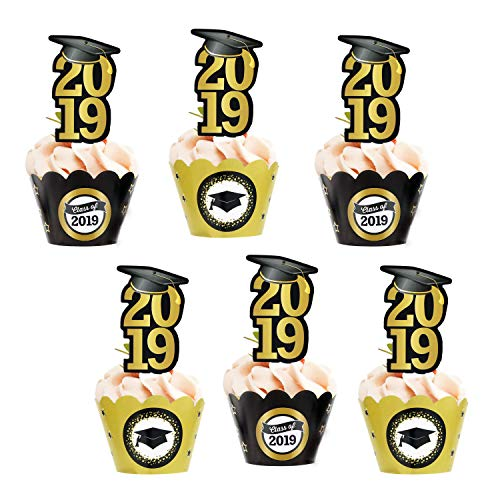 Graduation Cupcake Toppers Wrappers(24pack),Konsat Class of 2019 with Cap Graduation Picks Black Gold Decor for Grad Party Decoration Graduation Party Favors Supplies