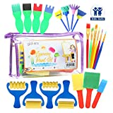 Glokers Early Learning Kids Paint Set, 21 Piece Mini Flower Sponge Paint Brushes. Assorted Painting Drawing Tools In a Clear Durable Storage Pouch.