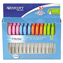 Westcott Kids Scissors with Microban Protection, Pack of 12, 5\