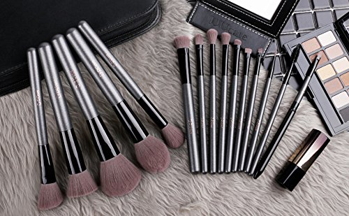 DUcare15 Pcs Pro Makeup Brush Set with Case and Travel Mirror Gift Choice Synthetic Professional Foundation Blending Brush Face Powder Blush Concealer Make Up Brushes by DUcare (Image #5)