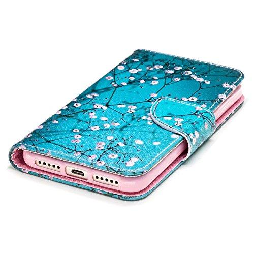 Funda para Xiaomi Redmi 4X,Grandcaser Double Layer Protectora Funda Suave PU Leather Cuero Libro Flip Estuche de Silicona Bumper Flexible Cover Carcasa - Pluma Birdie Plum Blossom