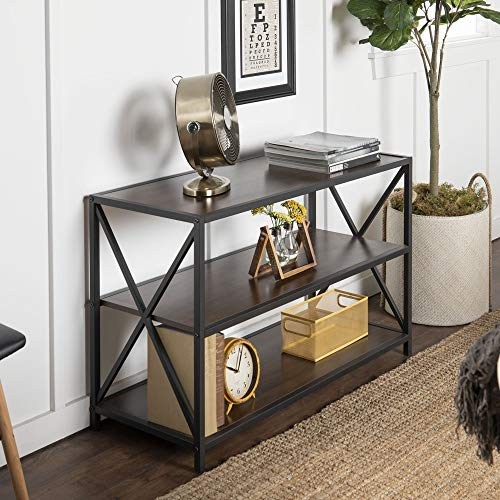 Walker Edison Furniture Company 2 Tier Open Shelf Industrial Wood Metal Bookcase Tall Bookshelf Home Office Storage, 40 Inch, Walnut Brown