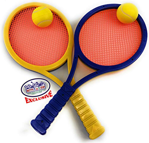 (Matty's Toy Stop Waterproof Plastic & Mesh Paddle Ball Racquets Game Set with 2 Multi-Color Paddles (Blue/Yellow/Orange) & 2 Foam Tennis Balls (Yellow))