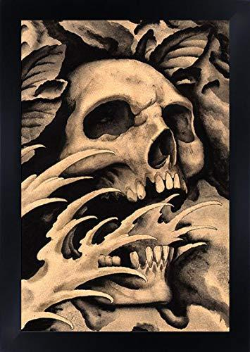 - Screaming Skull Clark North Framed Art Print Tattoo Artist Design Old-School