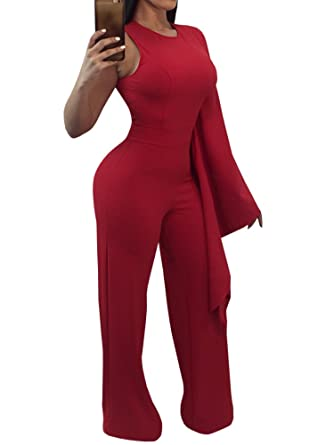 749087250286 Amazon.com  LOVARU Womens Jumpsuits Sexy One Shoulder Flare Sleeve Loose Romper  Jumpsuit  Clothing