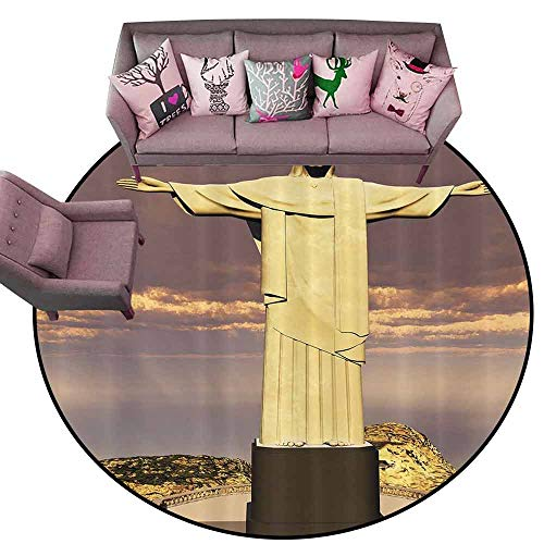 Floor Mat Kitchen Long Carpet Grandma Gifts Famous the Reedemer Statue Rio De Janeiro City Symbol of Monumental Architecture Sculpture Bath Decor,Taupe Yellow Brown Diameter 66