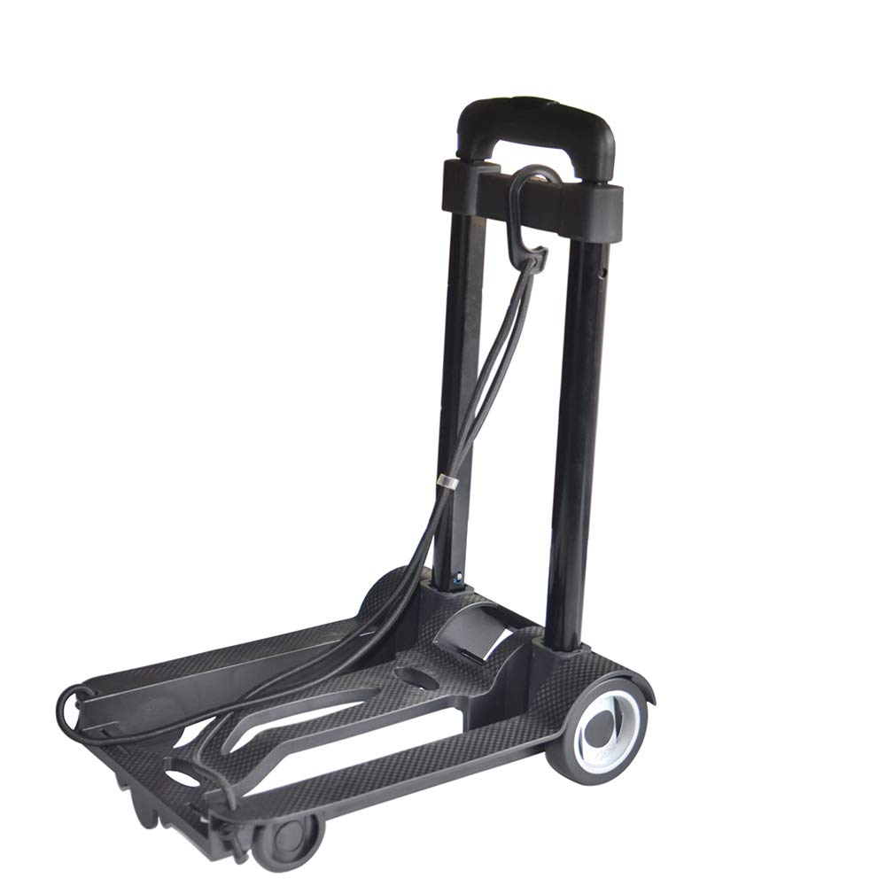 Luggage Cart Folding Hand Truck, 40 Kg Heavy Duty 4-Wheel Solid Construction Utility Cart Compact And Lightweight For Luggage, Personal, Travel, Auto, Moving And Office Use - Portable Fold Up Dolly,Lu