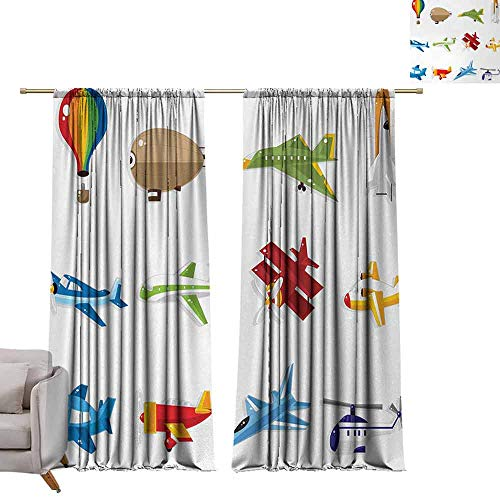 (berrly Blackout Window Curtain Boys,Aircrafts with Cartoon Style Jet Airliner Zeppelin Regular Plane and Hot Air Balloon,Multicolor W72 x L108 Room Darkening Wide Curtains)