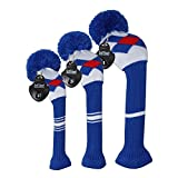 Knit Golf Headcover Set of 3, for Driver Wood(up to 460CC),Fairway Wood, and Hybrid