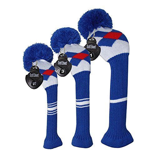 (Scott Edward Blue/red/White Argyles Golf Pom Pom Head Covers for Clubs Driver(460cc), Fairway Wood, Hybrid, Set of 3)
