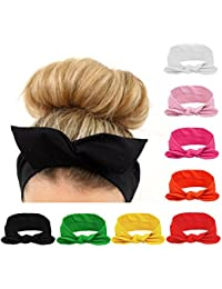 Women Headbands Turban Headwraps Hair Band Bows Accessories for Fashion Or  Sport (Solid Color 8pcs d90d1cab7d5f