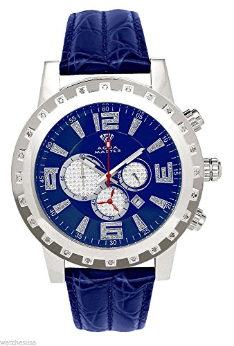 lver-tone Case Diamond Bezel Blue Leather Band Chronograph Watch W138 ()