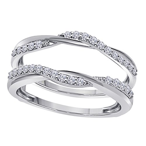 Sterling Silver Plated Delicate Bypass Infinity Style Vintage Wedding Ring Guard Enhancer with Cubic Zirconia (0.50 ct. tw.) ()