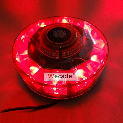 Wecade High Intensity 10 LED 30W Volunteer Firefighter Emergency Vehicle Magnetic Mount Strobe/Flash Beacon Warning Light (Red)