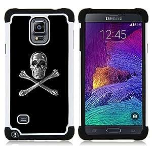 For Samsung Galaxy Note 4 SM-N910 N910 - SKULL CRYSTAL SILVER CROSSBONES BLACK Dual Layer caso de Shell HUELGA Impacto pata de cabra con im??genes gr??ficas Steam - Funny Shop -