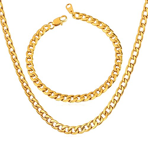 "Men Jewelry Set 5mm Wide Stainless Steel Based 18K Gold Plated Curb Cuban Chain Necklace & Bracelet,26""/8.3"""
