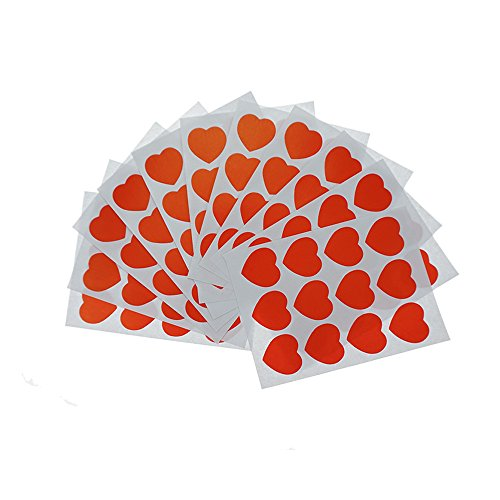 Shxstore Kawaii Red Heart Scrapbook Stickers Decals Envelope Seals, 12 Sheets, 144 Decals]()