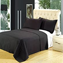 King Size Luxury Black Checkered Quilted Wrinkle Free Microfiber 3 Piece Coverlets Set