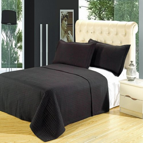 Egyptian Cotton Factory Outlet Store Queen Size Luxury Black Checkered Quilted Wrinkle Free Microfiber 3 Piece Coverlet ()