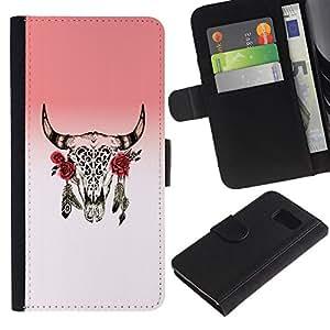 All Phone Most Case / Oferta Especial Cáscara Funda de cuero Monedero Cubierta de proteccion Caso / Wallet Case for Sony Xperia Z3 Compact // Horns Skull Dead Indian Rose Native