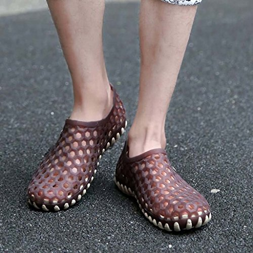 ZXCV Zapatos al aire libre El agujero impermeable de los hombres calza los zapatos de los hombres al aire libre planos Marrón