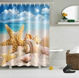 shower stall design ideas LB Nautical Theme Starfish Seashell on Sand Beach Print Decor Shower Curtain for Shower Stall, Marine Seaside Bathroom Decoration, Water Repellent Bath Curtain, 59 W x 70 L