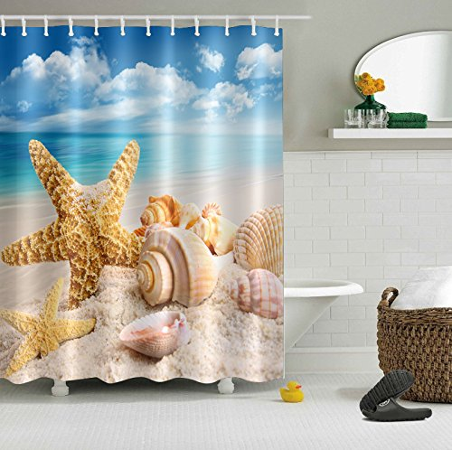 LB Nautical Theme Starfish Seashell on Sand Beach Print Decor Shower Curtain for Shower Stall, Marine Seaside Bathroom Decoration, Water Repellent Bath Curtain, 59 W x 70 L