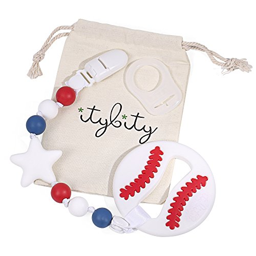 Baseball Baby Teething Toy with Pacifier Clip Teether, Baby Gift Set (Red, White, Blue)