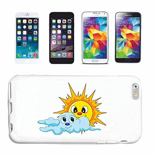 """cas de téléphone iPhone 5C """"SOURIANT DE SOLEIL ET DE NUAGES """"sourire EMOTICON APP de SMILEYS SMILIES ANDROID IPHONE EMOTICONS IOS"""" Hard Case Cover Téléphone Covers Smart Cover pour Apple iPhone en bla"""