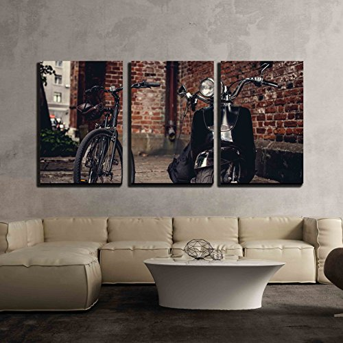 Retro Bicycle and Moto Scooter Over The Wall from Red Bricks x3 Panels