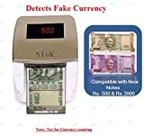 SToK® Handy Note Detector(Compatible with New INR -2000 & 500 notes) with Fake Note Detector -4 Way Insertion - Multi Currency Detector with Analysis: MG/UV/IR Note Counting Detector