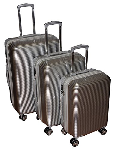 Kemyer Series 850 Expandable Hardside Luggage Spinner Wheeled Suitcase 28, 24 & 20 inch, 3 pc set Silver