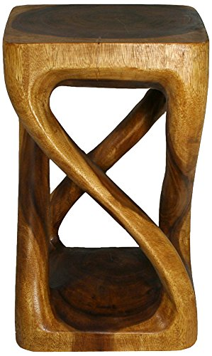 Strata Furniture Vine Twist Stool, 14 by 23-Inch, Walnut