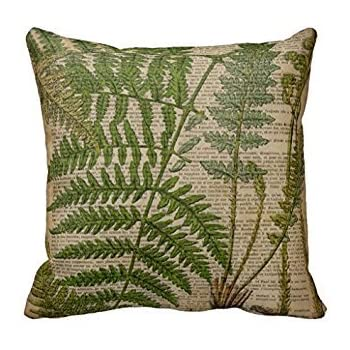 Amazon Com Throw Pillow Cover For Couch Green Fern Leaves