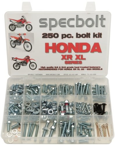 250pc Specbolt Fasteners Brand Bolt Kit fits: XR50 XR80 XR100 XR185 XR200 XR250 XR400 XR500 XR600 XR650 and XR XL Models 50 80 100 185 200 250 400 500 600 650 (Xr Honda 600)