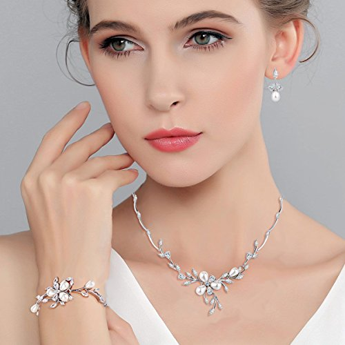 EVER FAITH Marquise CZ Simulated Pearl Bridal Flower Leaf Filigree Necklace Earrings Bracelet Set 2