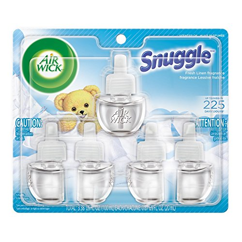 Air Wick Scented Oil 5 Refills, Snuggle Fresh Linen, (5X0.67oz), Air Freshener (Fresh Air Freshener)