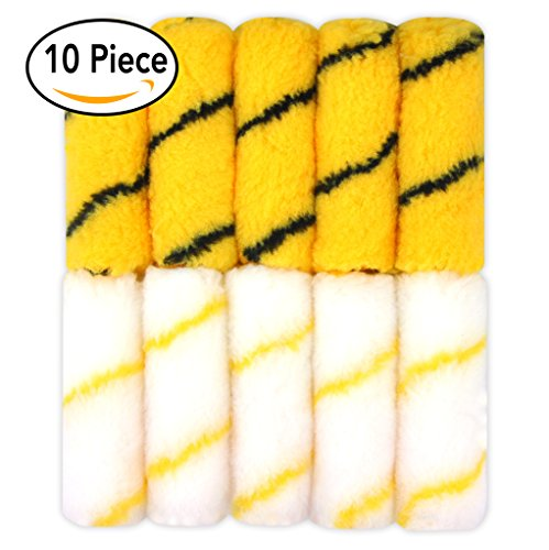 KingOrigin 10 Piece Mini Paint Roller,paint roller Covers,paint roller,paint kit,roller brush (Paint Rollers Narrow)