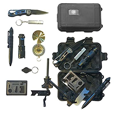 Emergency Survival Kit, Emergency Car Kit, Camping, Knife, Compass, Flint, Fire Starter, SOS, Hazard Safety, Outdoor Tools, Great for Climbing, Hiking, Biking, Driving, Fishing, Boating, Geocaching from Raymick Gear & Goods