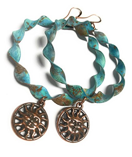 Boho Large Verdigris & Rust Patina Hoop Earrings in Twisted Copper Jewelry for -